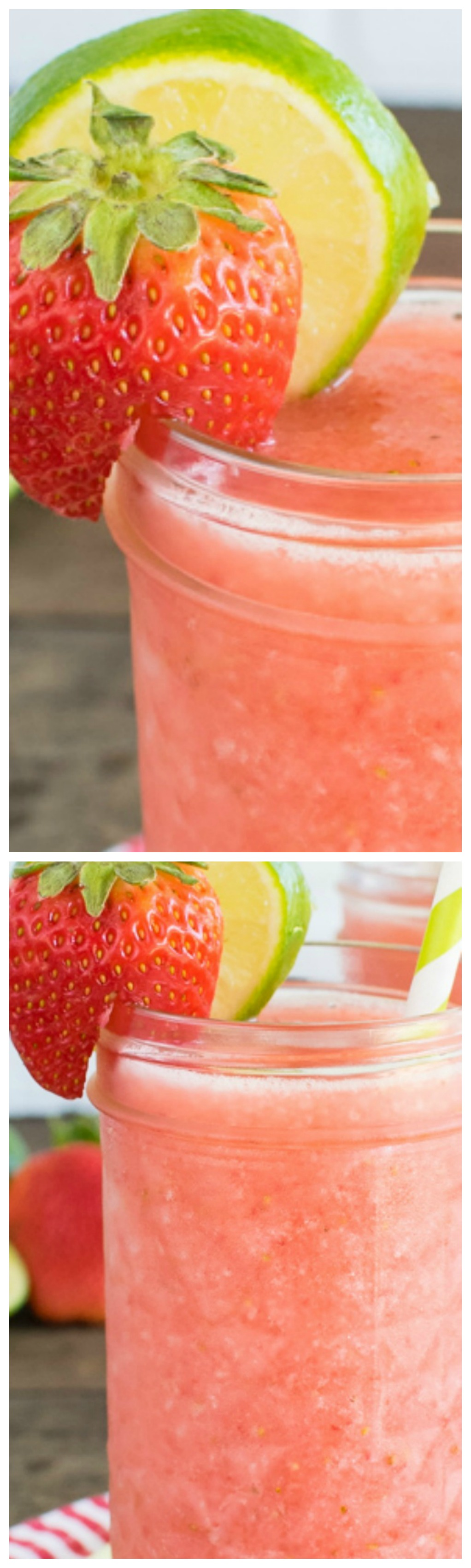 Strawberry Limeade Slushies ~ The perfect drink to enjoy while you relax this weekend... Fresh berries and juice come together quickly in the blender with some ice.