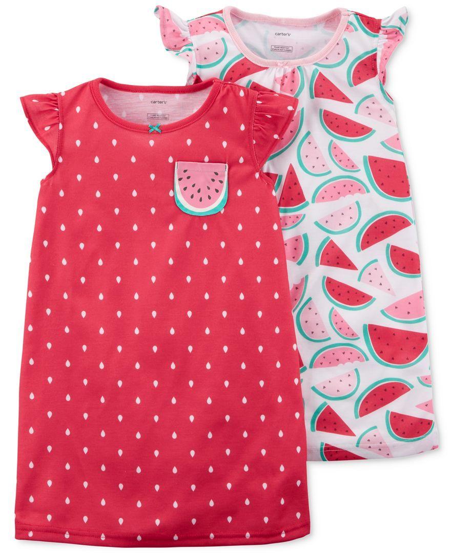 3edacae68 Carter s 2-Pack Watermelon-Print Cotton Nightgowns