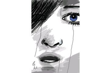 Crying girl Drawing ,by me.