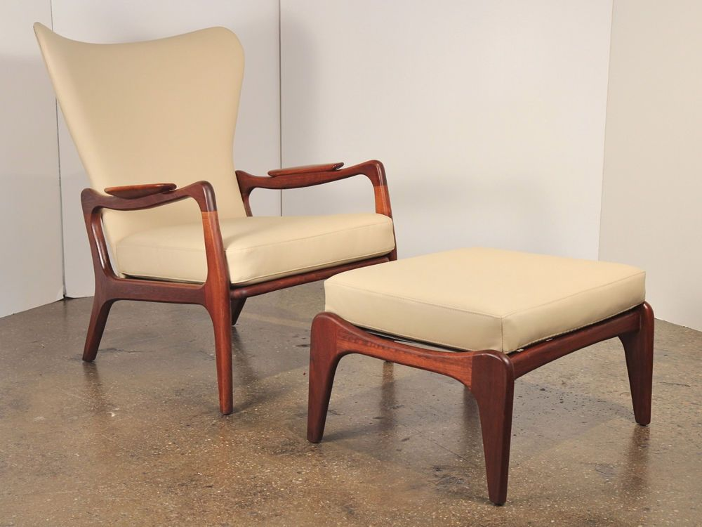 adrian pearsall wingback lounge chair and footstool vintage 1960s