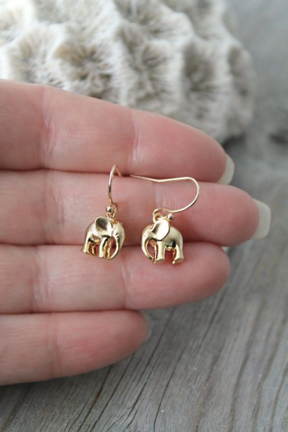 Adorable pair of lucky elephant earrings on 14k gold filled french adorable pair of lucky elephant earrings on 14k gold filled french ear wires perfect for freerunsca Images