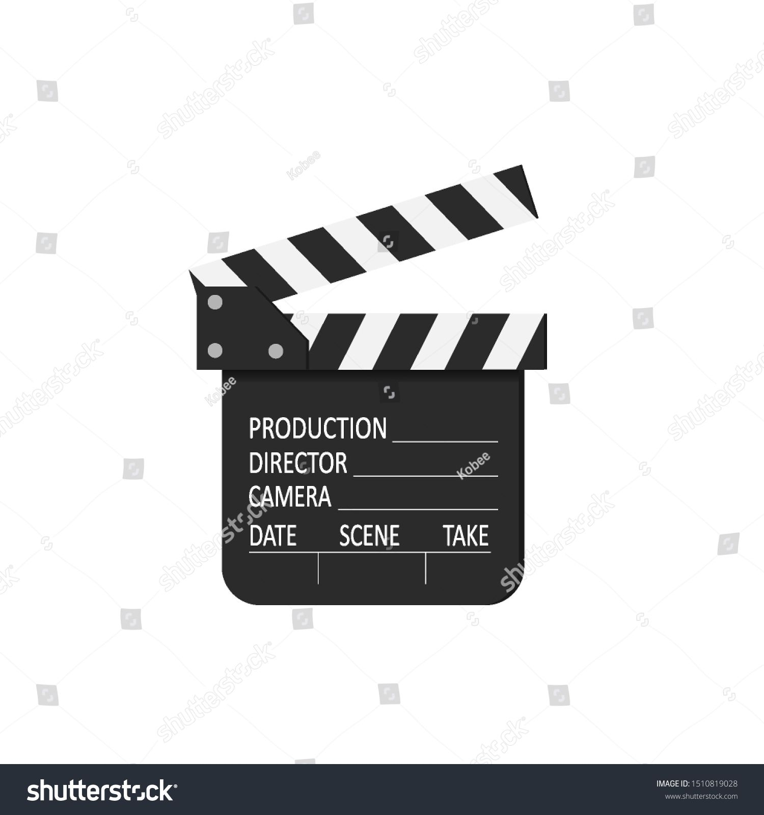 Movie Clapper Isolated On White Black Open Clapperboard Vector Illustration Video Icon Film Making Industry Sponsored Affiliate Black Open Clapperboar