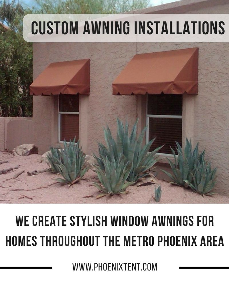 We Created A Custom Box Valance Style Awning For This Scottsdale Az Homeowner The Burnt Orange Color Blends In Wel Awning Installation Custom Awnings Awning