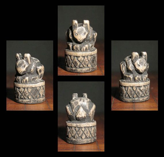 Carved Wooden Rabbit on Cross Hatched Base by elfWorksLane on Etsy, $35.00