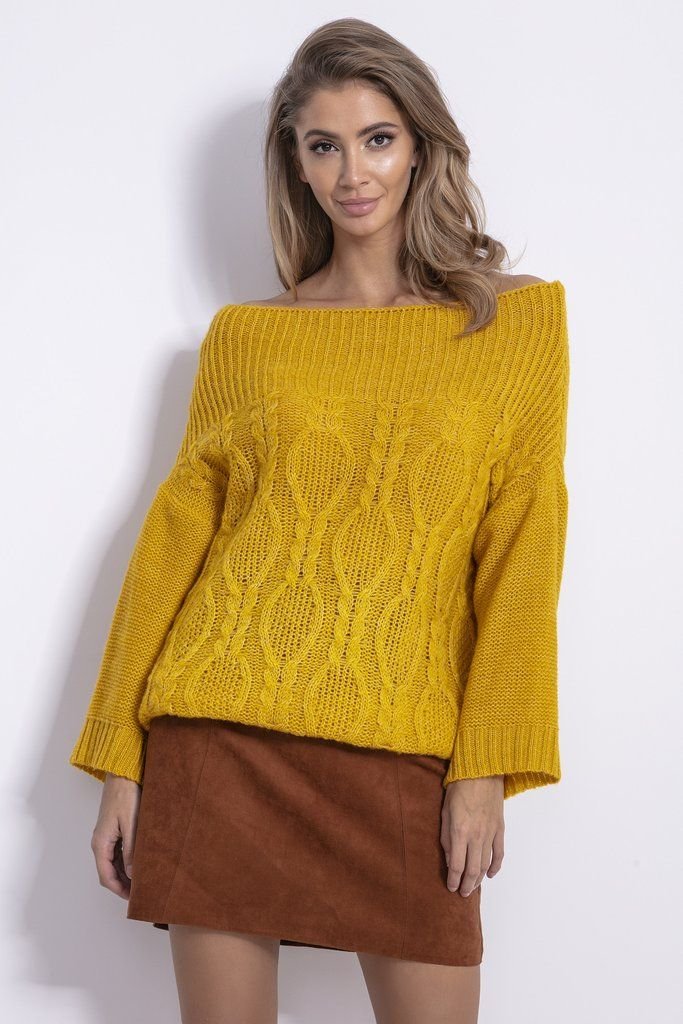 Honey Mustard Off The Shoulder Sweater With Braids