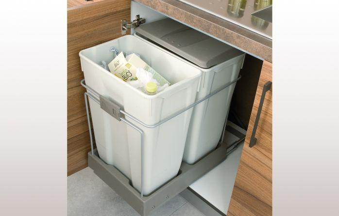 accessoire de rangement poubelle 2 bacs