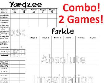 Printable Yardzee Score Card With Rules Combo Yardzee Board