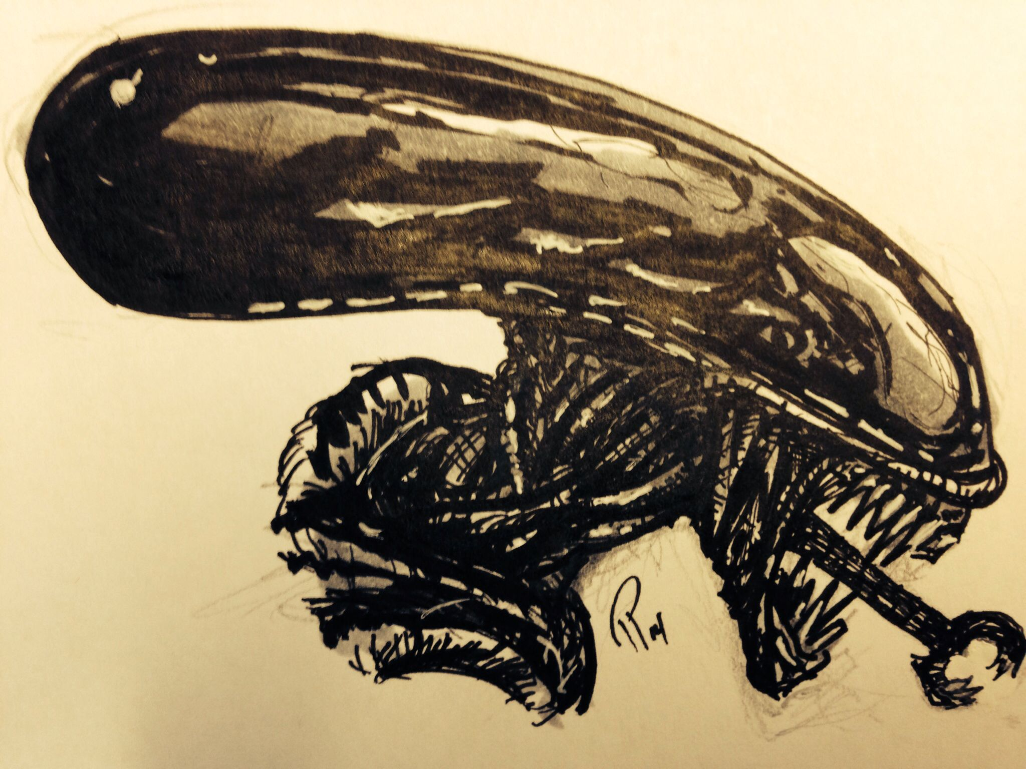 Finally had time for a quick sketch. Alien Giger art