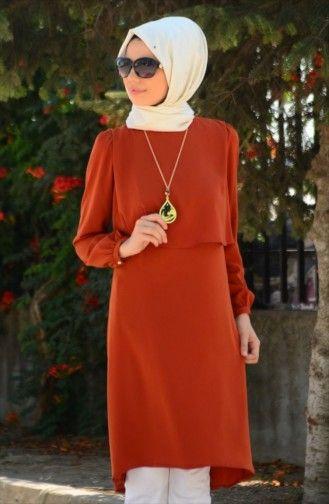 Tesettur Tunik Fy 82248 08 Bakir Fashion Tunic Batik