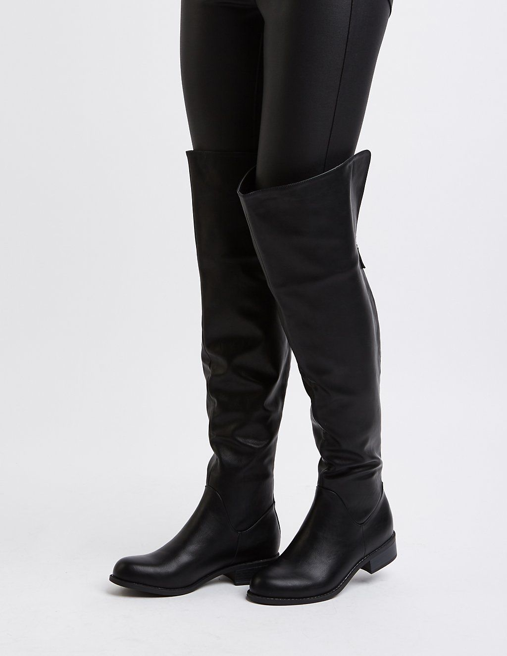 7a19c0248f16e Zipper-Trim Over-The-Knee Boots | Charlotte Russe | Historical ...