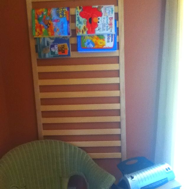 The Removable Side Of A Convertible Crib As Coloring Book Holder In Homeschool Room
