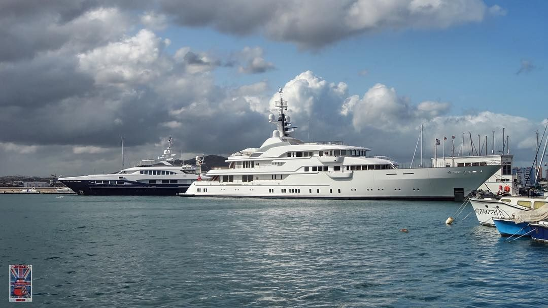 """""""HAMPSHIRE II"""" and """"RED SAPPHIRE"""" at the Ocean village marina today. by superyachts_gibraltar"""
