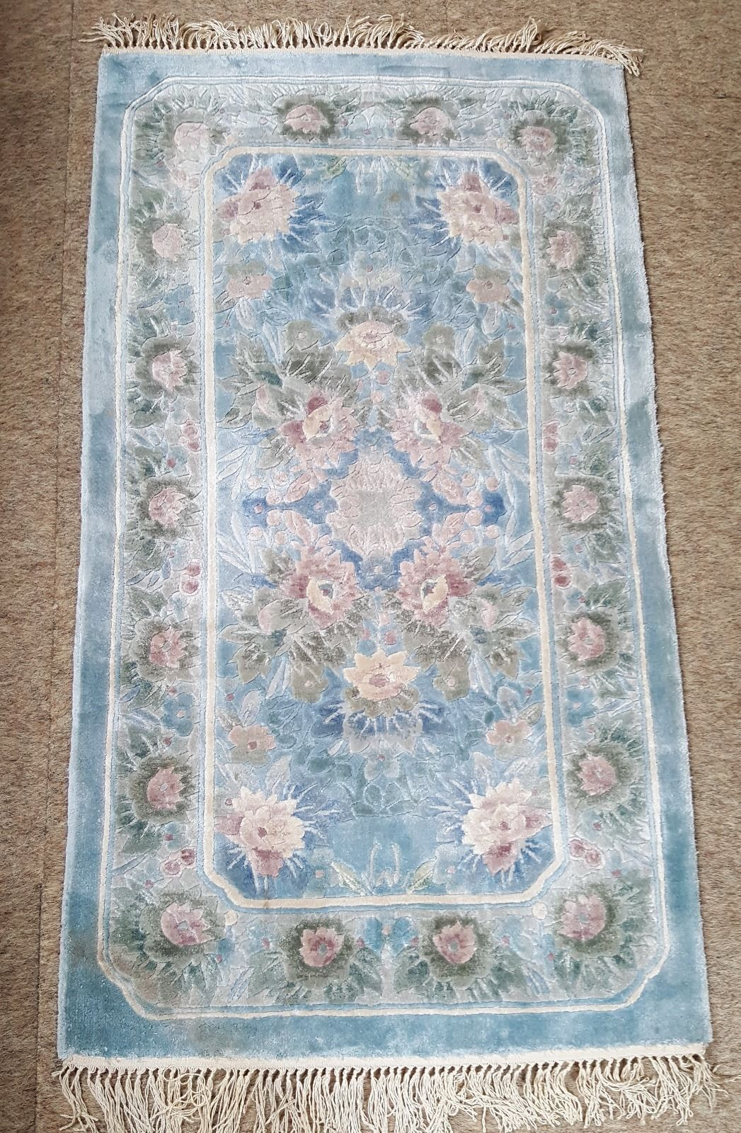 G H Frith Blue Chinese Silk Rug