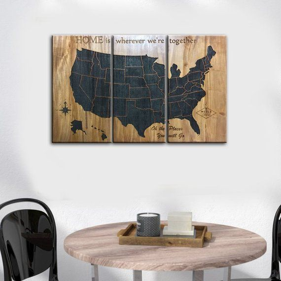 Wood Map Of The Usa Map Wall Art Us Map Wood United States Map