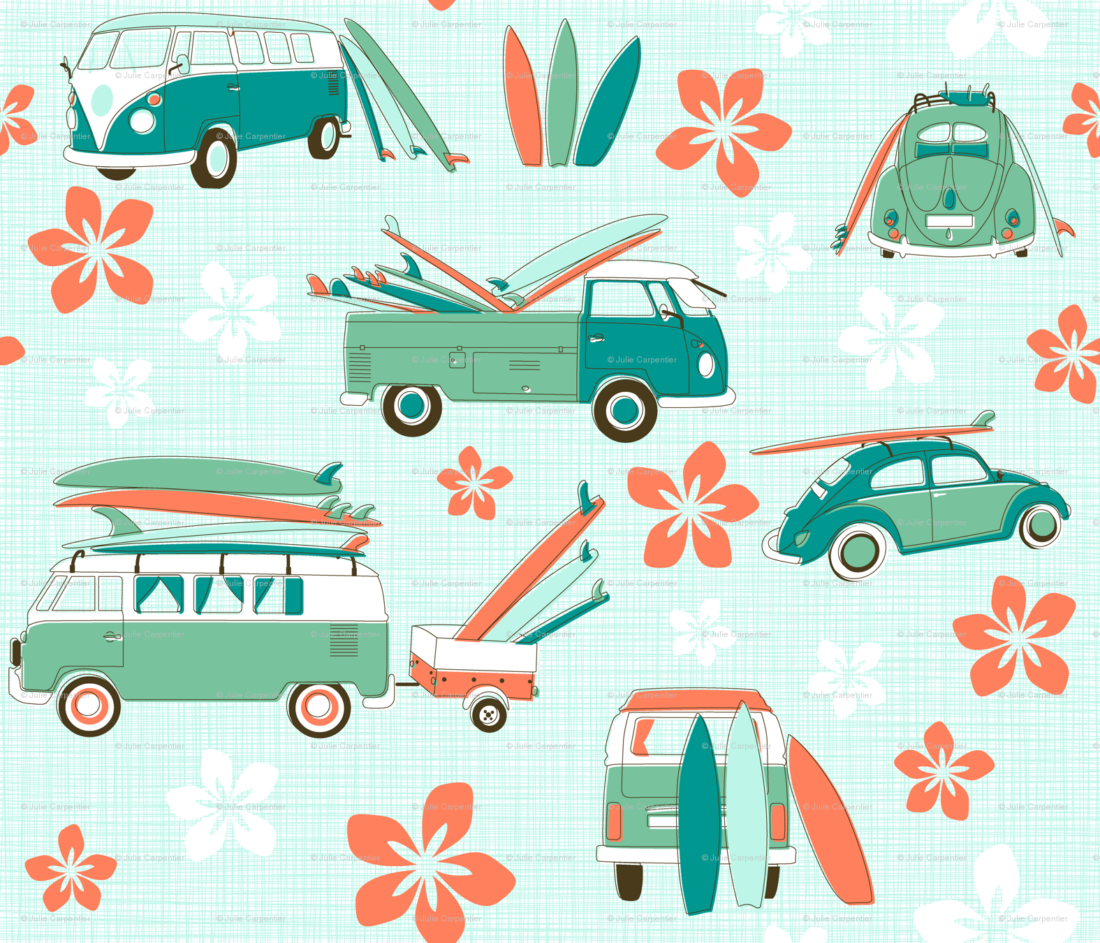 Vintage Surfing Fabric By Juliesfabrics On Spoonflower