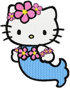 Hello Kitty Mermaid Filled Machine Embroidery Design in 4 Sizes. $3.99, via Etsy.