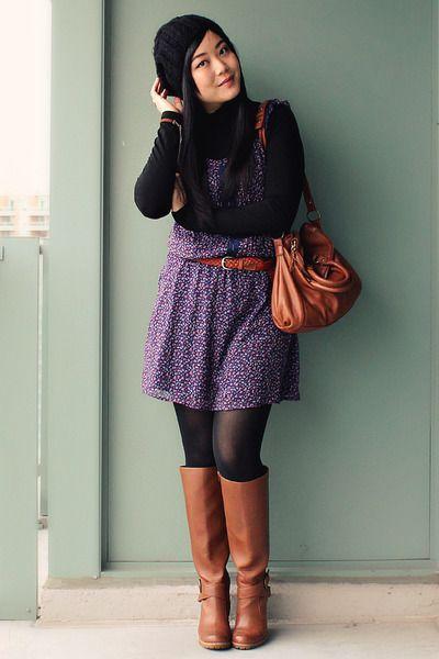 4580ecf4dd Brown-aldo-boots-deep-purple-old-navy-dress-black-h-m-hat