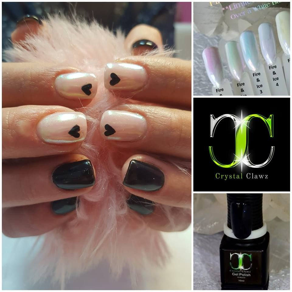 Short And Sweet Very Playful In This Cute Design With Black Gel Polish And Hearts Beautifully Bedazzled In O Nail Art Supplies Nail Decorations Chrome Powder