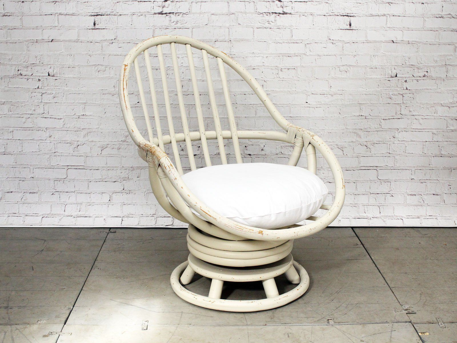 Brilliant A 1960S Painted English Cane Swivel Armchair Products In Short Links Chair Design For Home Short Linksinfo