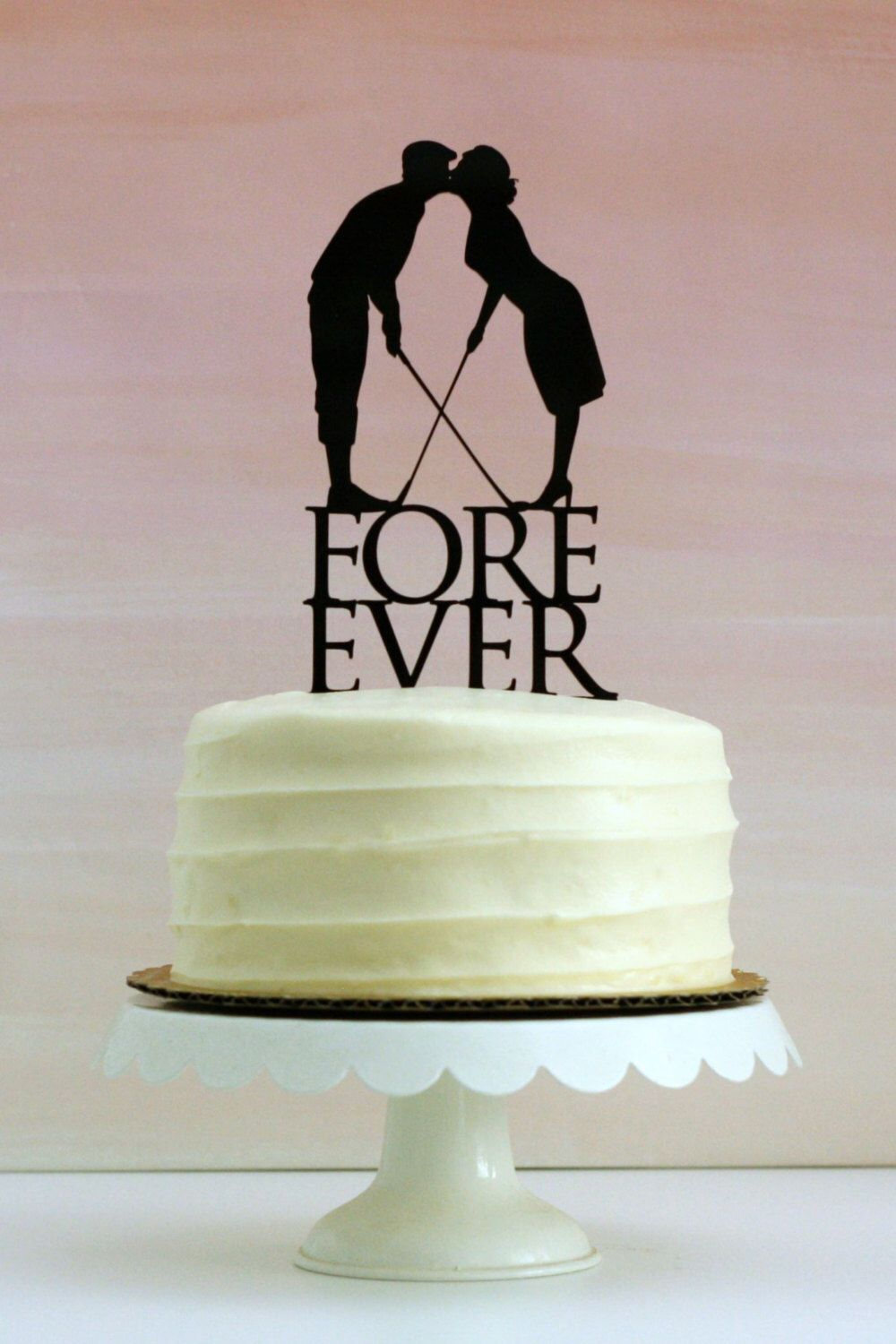 Fore Ever Golf Wedding Cake Topper with Silhouettes - MADE TO ORDER - Customizable by Silhouetteweddings on Etsy https://www.etsy.com/listing/247002855/fore-ever-golf-wedding-cake-topper-with