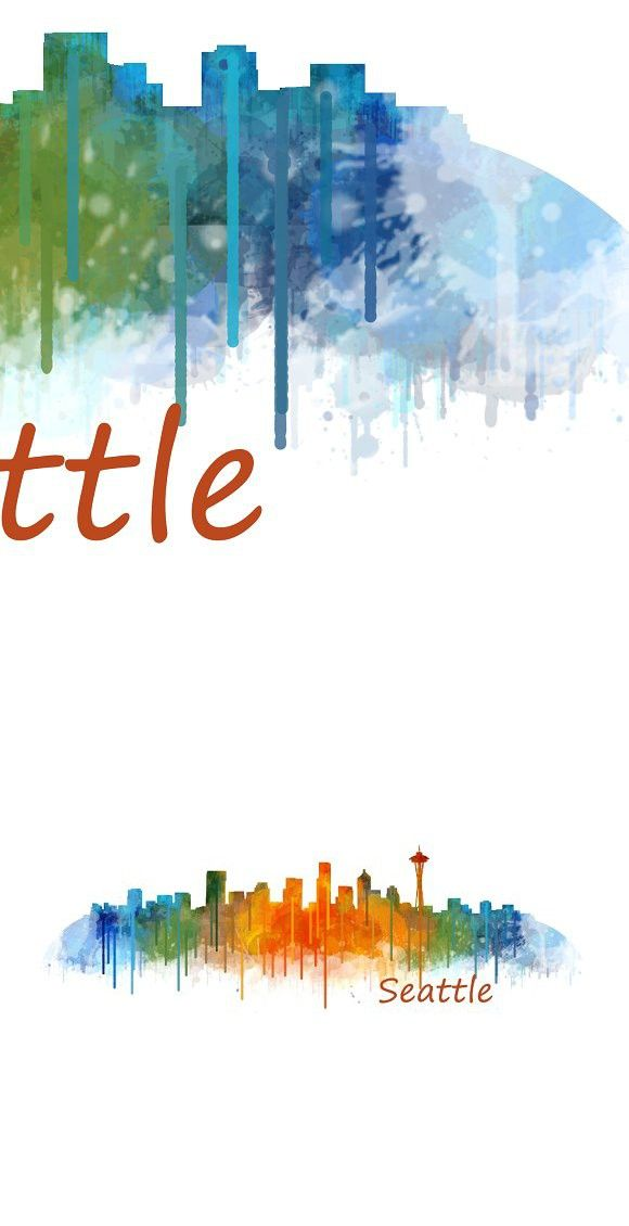 Seattle City Watercolor Skyline V2 Seattle City Skyline Cityscape