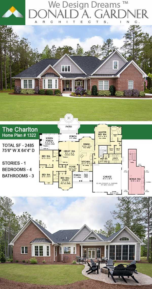 One Story Home Plan The Charlton Charlton House Craftsman House Plans Architectural Design House Plans