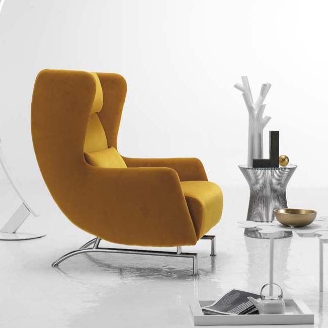 Modern Arm Chair bonobo modern wing back armchair in mustard yellow | furniture