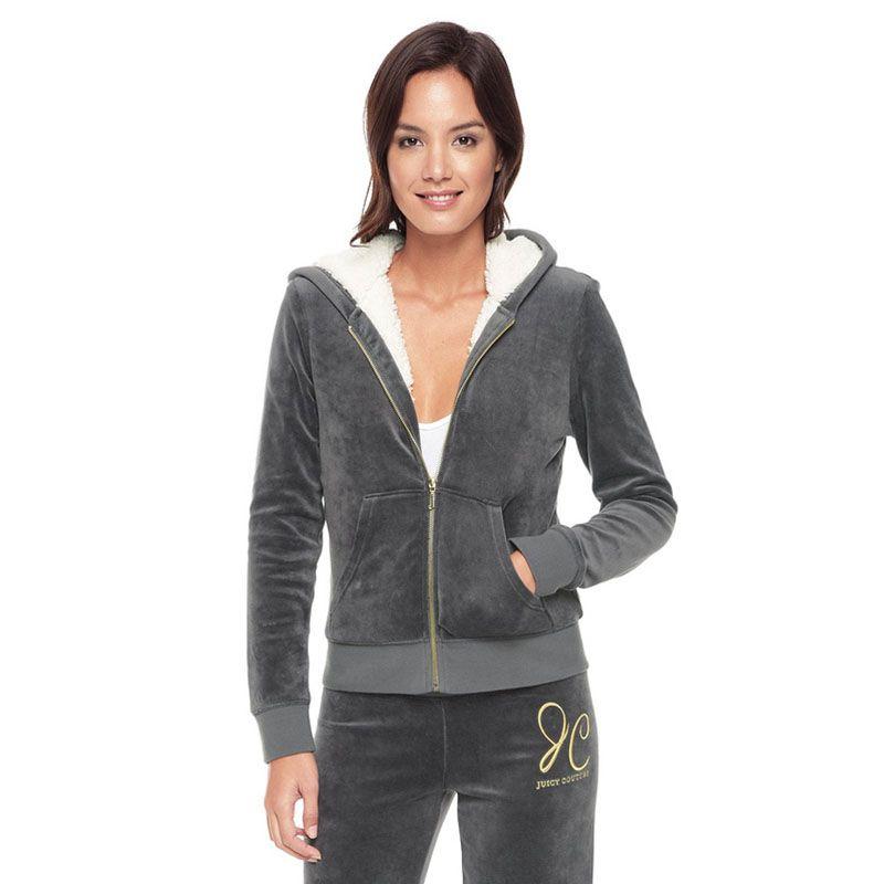 28ea4b30497a Juicy Couture Crown JC Velour Tracksuit 6151 2pcs Women Suits Grey ...