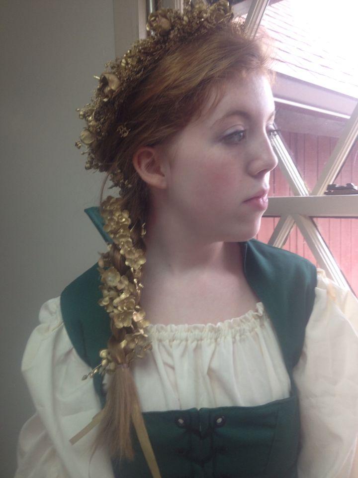 Medieval hair- flowers in hair- gorgeous hair- red hair- medieval banquet -side braid