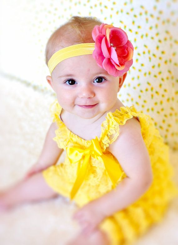 yellow baby romper/ romper and headband SET/lace petti
