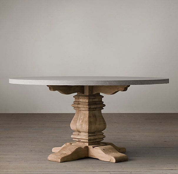 Salvaged Wood Weathered Concrete Trestle Round Dining Table Pedestal Table Base Round Dining Table Dining Table