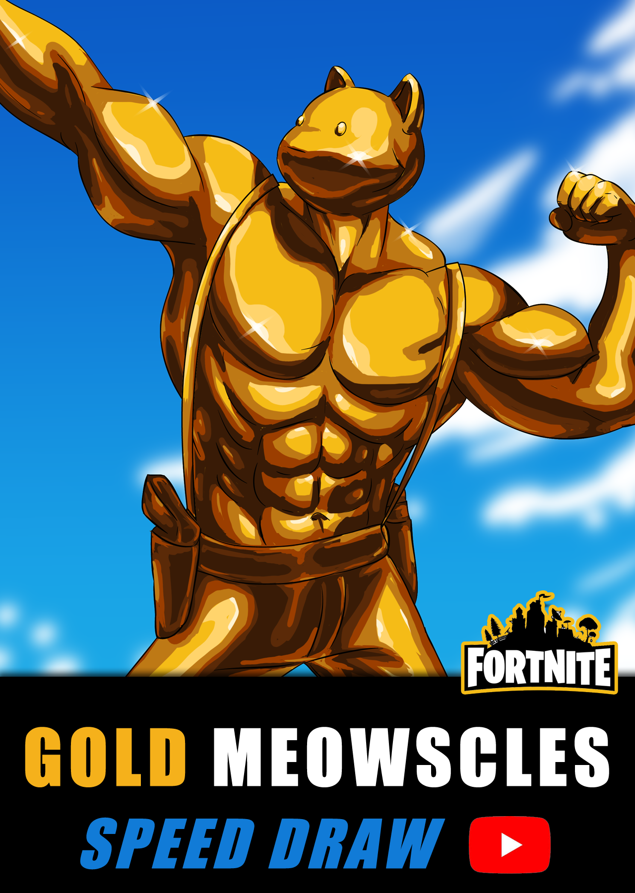 Speed Draw Of Gold Meowscles In 2020 Fortnite Speed Paint Chapter