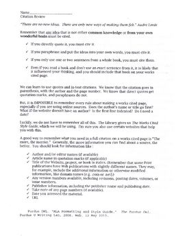 Citation review worksheet mla formating students and worksheets two page sheet that guides students on how to cite in text citations mla style ccuart Image collections