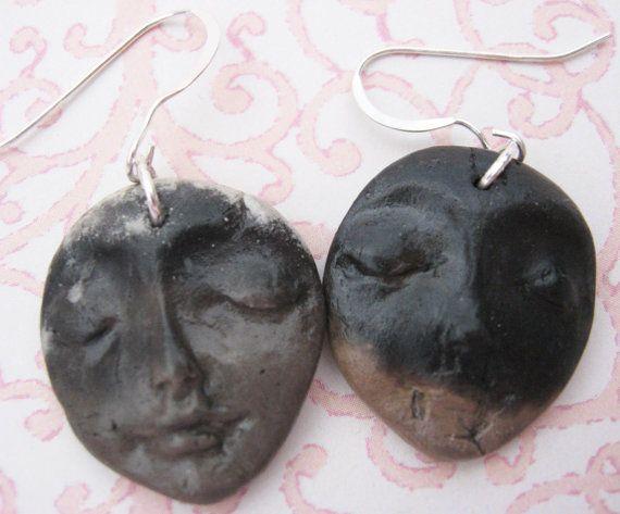 Ceramic Earrings  Smoke Fired by GeraldinesOddMachine on Etsy, $15.00