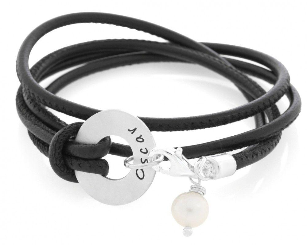 Lederarmband Gravur Armband braun Namen Ring Schmuck Namen Geschenk Damenarmband