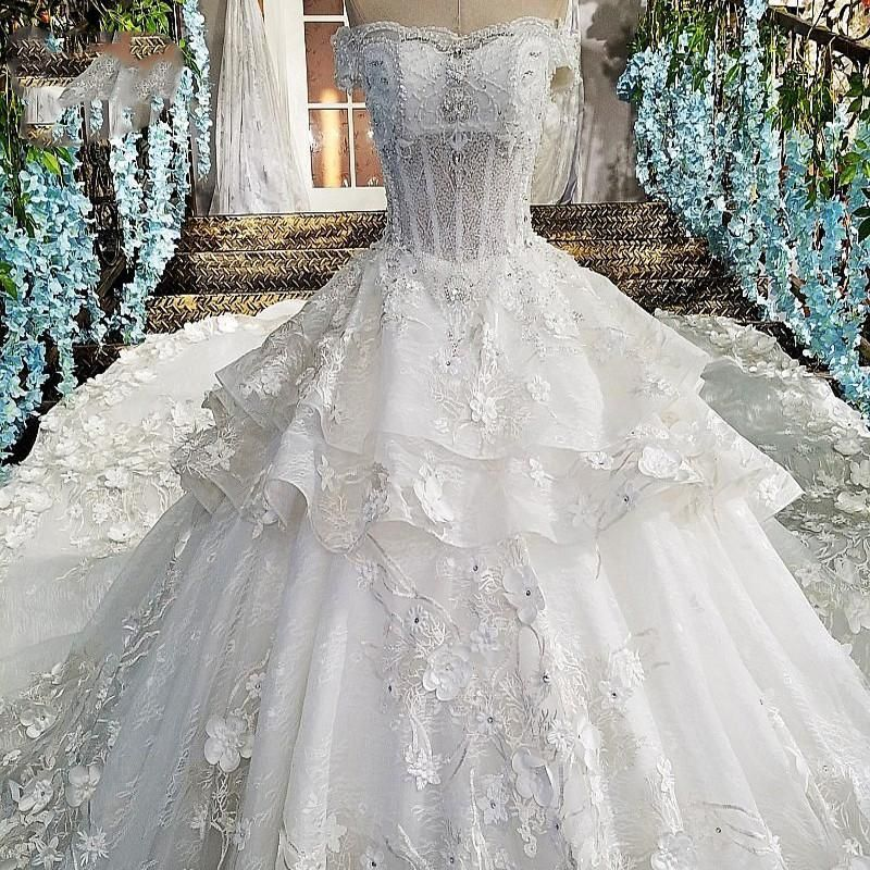 Item specifics Item Type Wedding Dress Sleeve Style Off the Shoulder  Train Court Train Built-in Bra Yes  Decoration Flowers 2c00493d3024