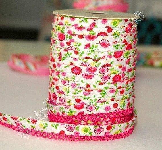 Bias Tape Pink Floral Cotton and Lace Double by HollandFabricHouse, $1.75