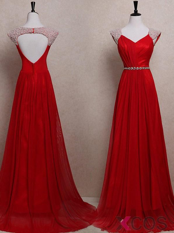 Simple Dress Elegant White Pearl Capped Long Red Chiffon Prom ...