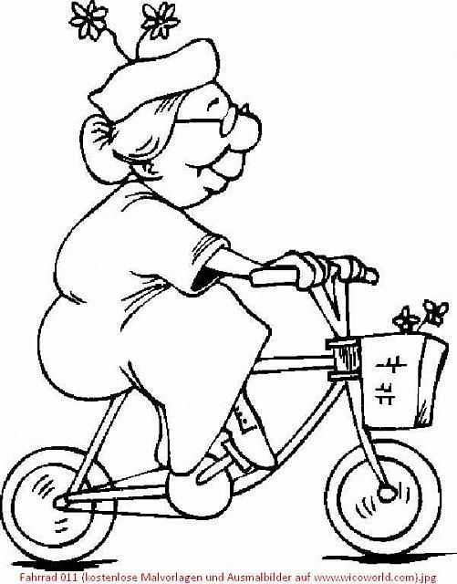 Coloring Page: Granny riding a Bicycle | Color Me Happy | Pinterest ...