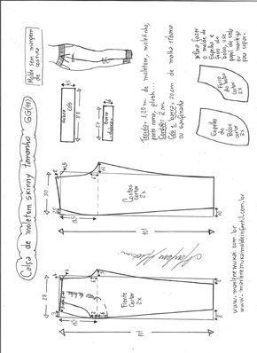 Esquema de modelagem de calça de moletom skinny GG.