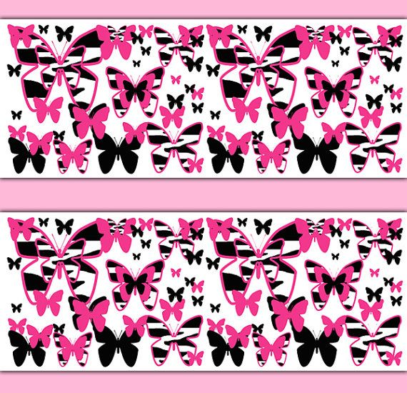 HOT PINK ZEBRA Butterfly Wallpaper Border Wall Decals Animal Print Teen  Girls Safari Room Baby Nursery