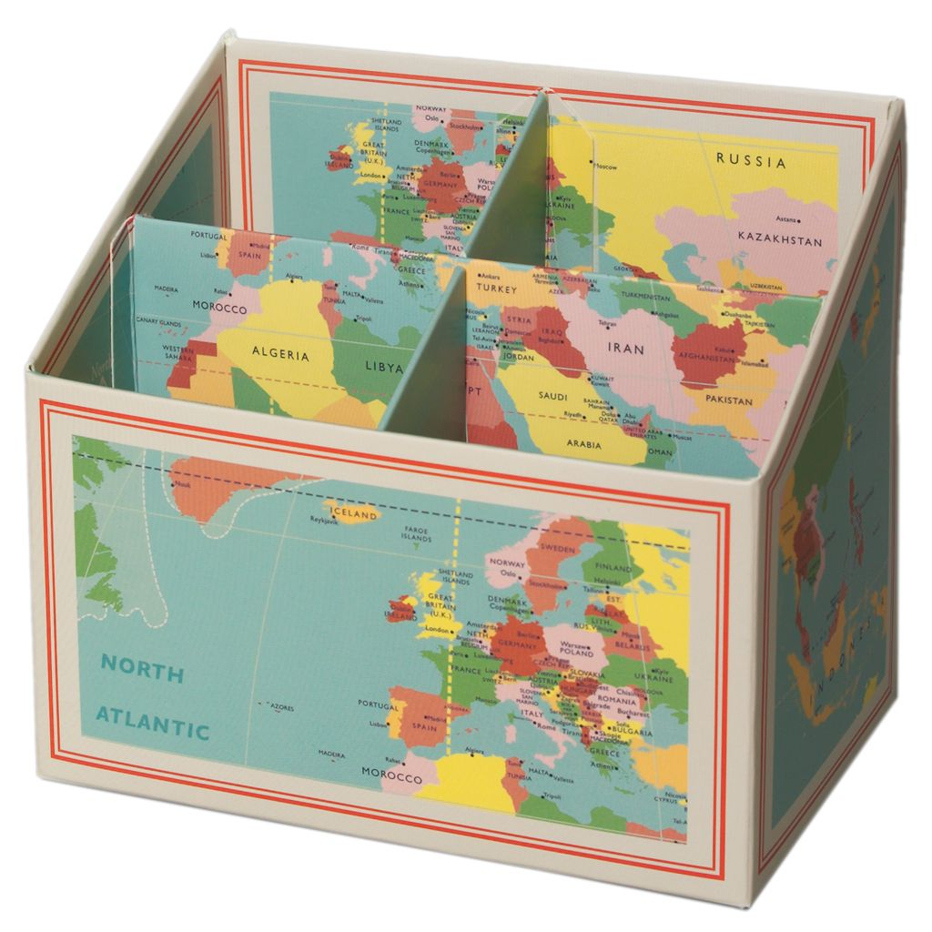 Pencil box vintage world map dotcomgiftshop kids tips world map desk tidystationeryvintage gumiabroncs Gallery