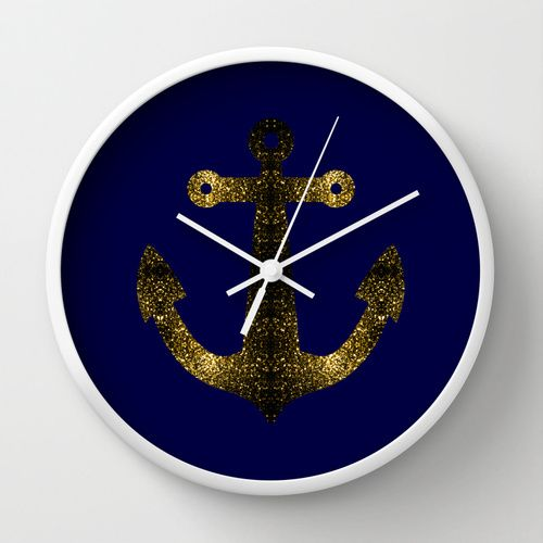 Yellow Gold sparkles Anchor on Dark navy blue Wall Clock by #PLdesign #SparklesAnchor #GoldSparkles #SparklesGift
