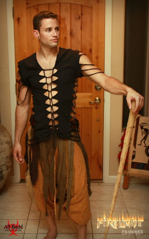 men's shredded shirt tribal tattered top for festivals beach fashion dragon costume and lgbt by FirelightFashions - Steampunk Steampunk Clothing - Smoked Glass Goggles