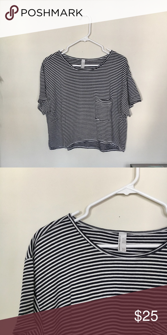 a278bd8bb American apparel oversized crop top American apparel oversized blue and  white striped short sleeve crop top. American Apparel Tops Crop Tops