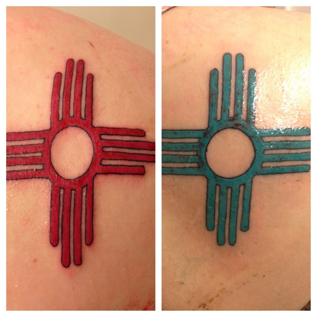 My wife and i got matching zia symbols we got them because we new mexico sun in zia symbol tattoo photo 5 biocorpaavc Images