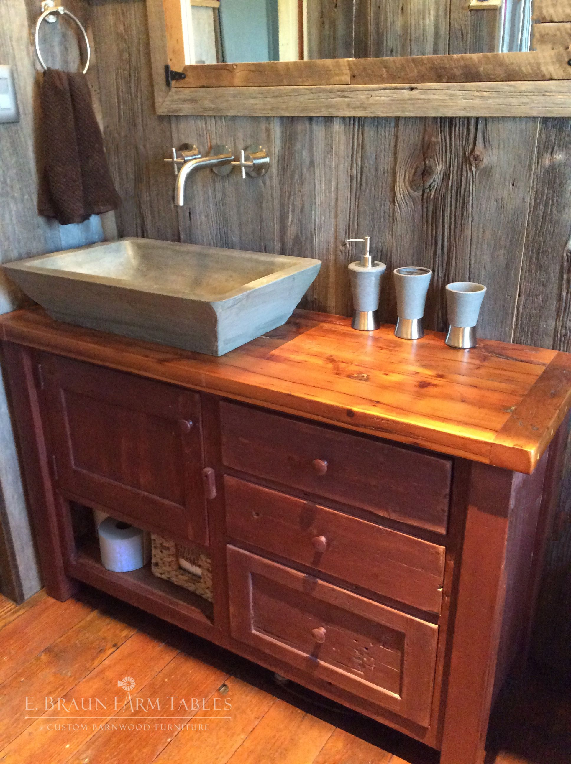 Vanity built using reclaimed barn wood from the 1800's to