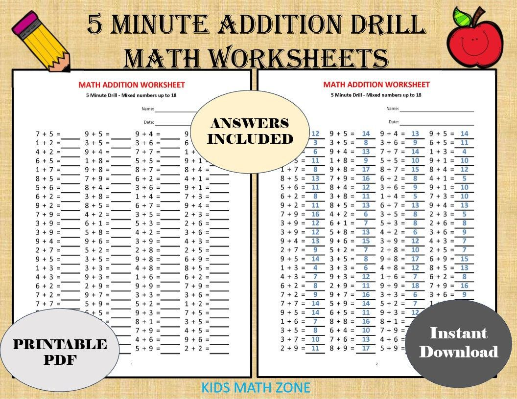 Addition 5 Minute Drill H 10 Math Worksheets With Answers