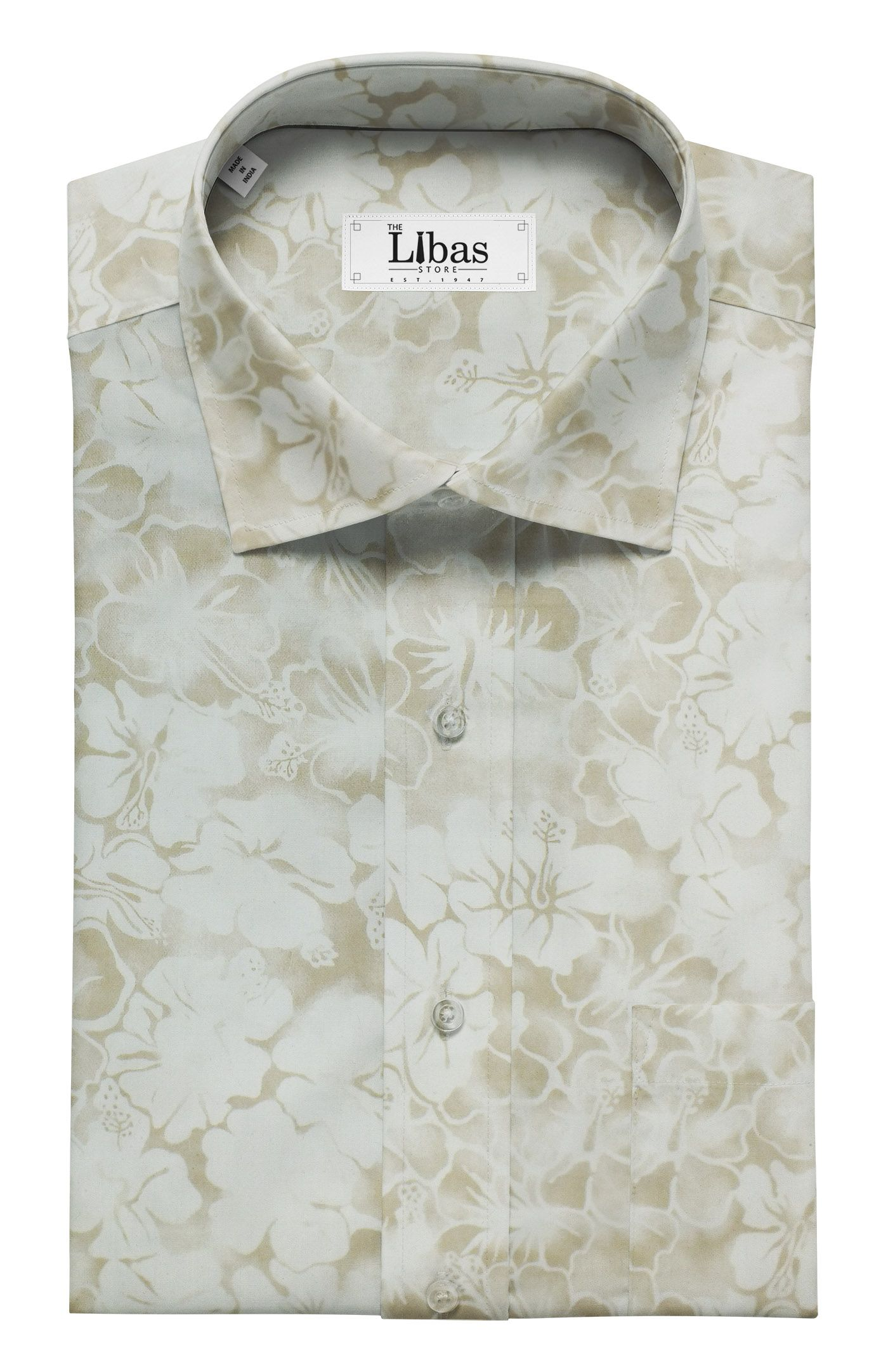 7a47bb739fe Combo of Raymond Beige Self Checks Trouser Fabric With Monza Off-White 100%  Cotton Beige Printed Shirt Fabric (Unstitched)