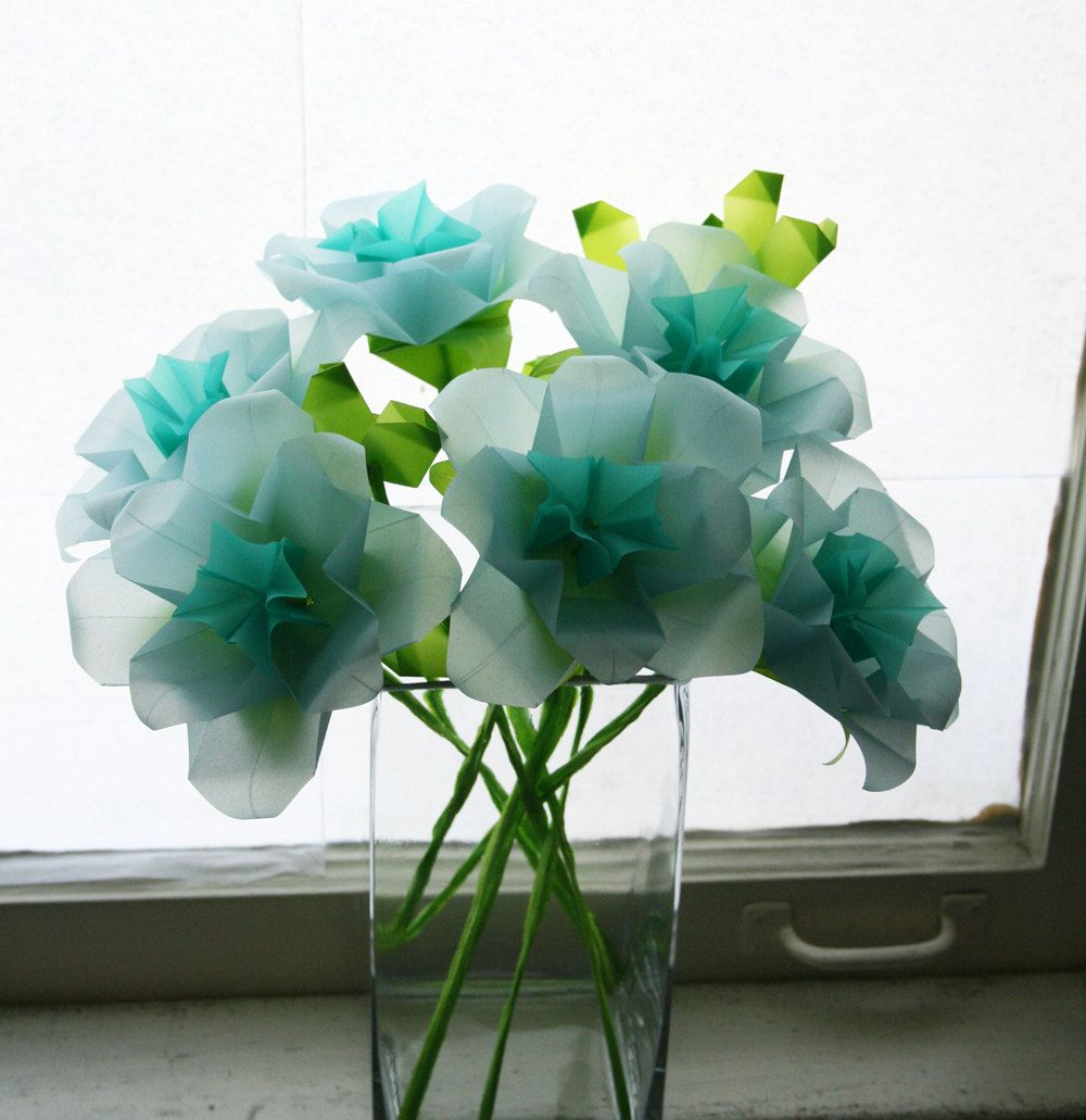 Blue Roses Origami Paper Flowers Folded With Translucent Origami